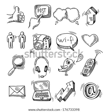 Doodle social icons set of network blogger media marketing isolated vector illustration - stock vector