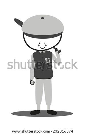 Doodle softball player - stock vector