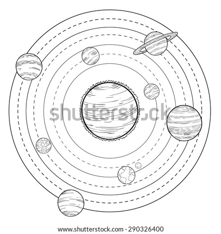 doodle Solar System, vector illustrations. - stock vector