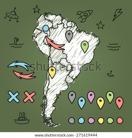 Doodle South America map on green chalkboard with pins and extras vector illustration - stock vector