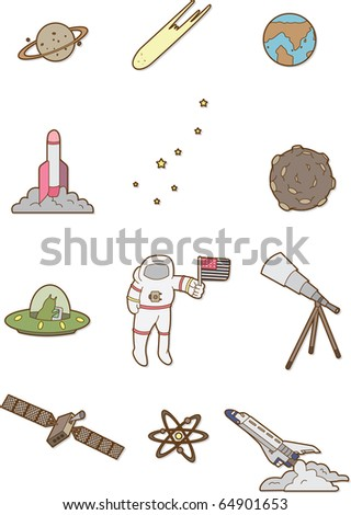 doodle space - stock vector