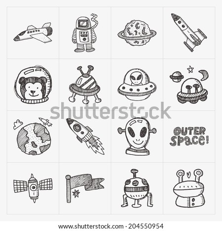 doodle space elements icon set - stock vector