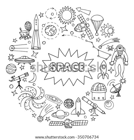 Doodle space elements. Vector illustration of round frame with hand drawn doodle space elements - stock vector