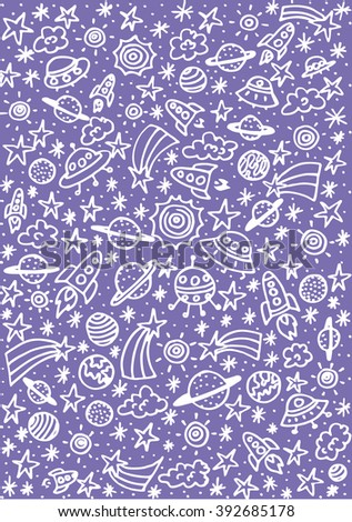 Doodle space elements. Vector illustration with hand drawn doodle space elements for wallpaper, wrapping, textile prints - stock vector