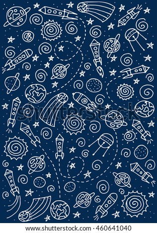 Doodle space elements. Vector illustration with hand drawn doodle space elements for wallpaper, wrapping, textile prints. Vector Illustration. eps10 - stock vector