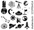 doodle space images - stock vector