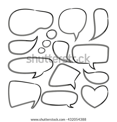 doodle speech bubble, comic speech bubble, blank speech bubble
