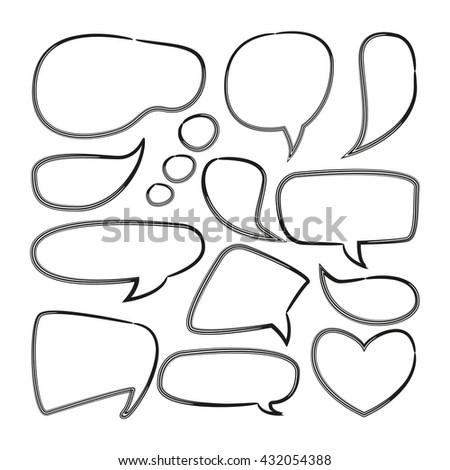 doodle speech bubble, comic speech bubble, blank speech bubble - stock vector