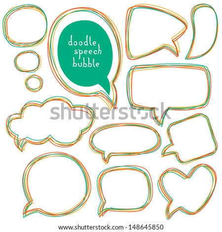 Doodle speech bubbles. Different sizes and forms. Vector illustration. - stock vector
