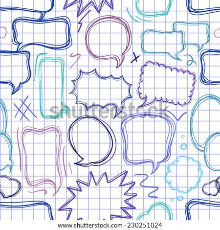 Doodle speech bubbles seamless pattern. - stock vector
