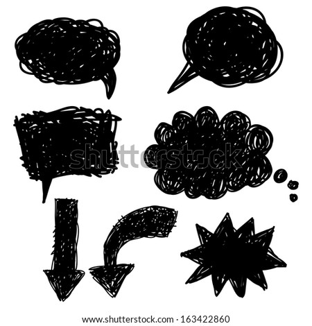 Doodle speech cloud set - stock vector