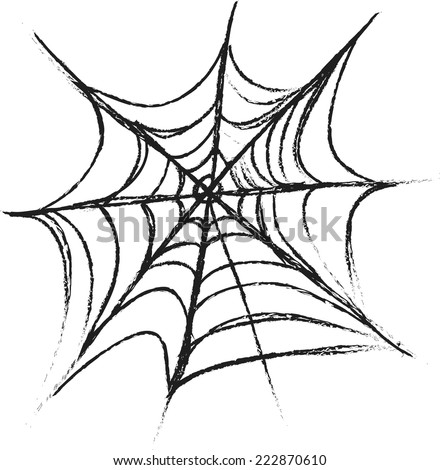 doodle Spider Web - stock vector