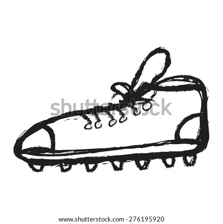 doodle spiked football shoe, vector illustration - stock vector
