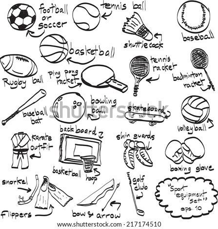 Doodle sport equipment. Vector illustration. Sketchy illustration hand drawn, vector object isolated, realistic image - stock vector