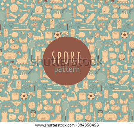Doodle sports elements. Vector illustration with fitness icons in handdrawn style.  Sport and fitness seamless doodle pattern - stock vector