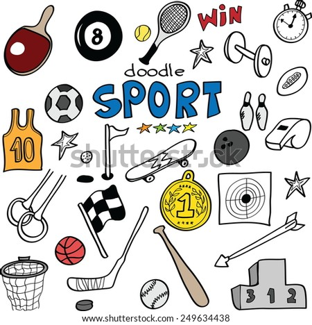 Doodle sports, vector illustration - stock vector