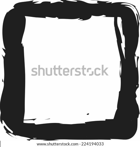 doodle square, charcoal line art vector