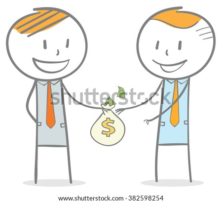 Doodle stick figure: A business man giving a bag of money to his colleague