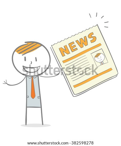 Doodle stick figure: A business man showing a newspaper with his profile on it - stock vector