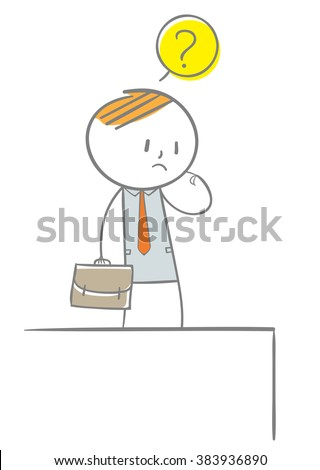 Doodle stick figure: A business man thingking how to escape the cliff - stock vector
