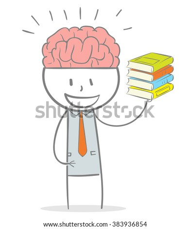 Doodle stick figure: A business man with a big brain holding a stack of book on his hand. - stock vector