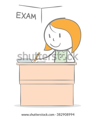 Doodle stick figure: A girl sitting on desk doing an exam - stock vector