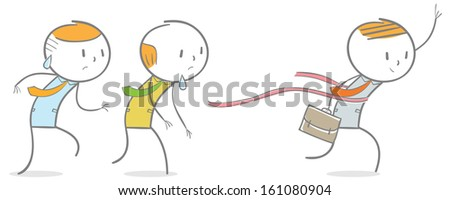 Doodle stick figure: A successful businessman winning the competition - stock vector