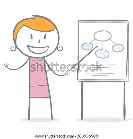 Doodle stick figure: A woman with pointer pointing a white board - stock vector