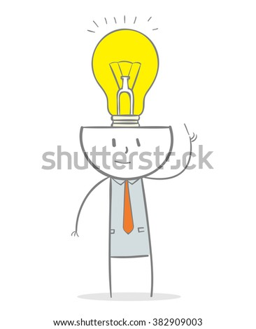 Doodle stick figure: Business man with brain full of ideas concept