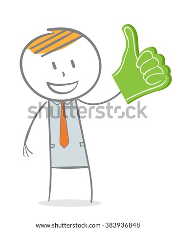Doodle stick figure: Business man with his thumb pointing up - stock vector
