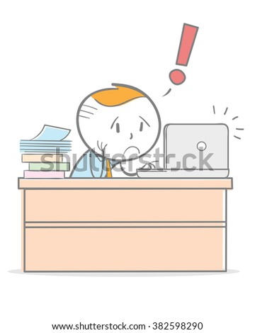 Doodle stick figure: Business man working on his laptop in pressure. - stock vector