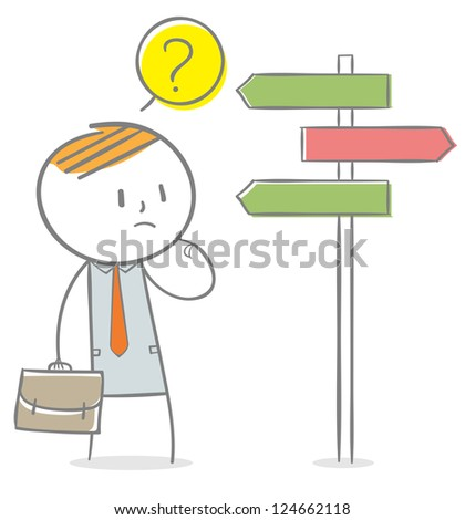 Doodle stick figure: Businessman confused by directional sign. - stock vector