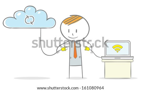Doodle stick figure:Businessman connected his laptop computer to a cloud system - stock vector