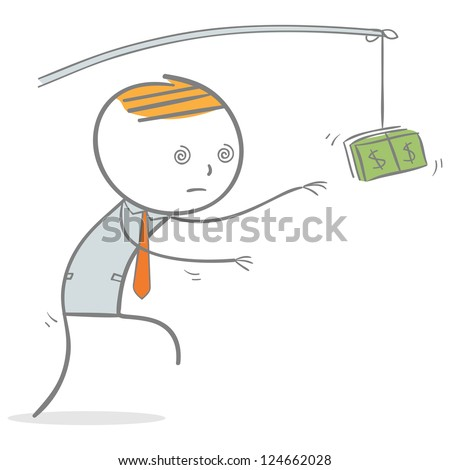 Doodle stick figure: Businessman in zombie face trying to reach money - stock vector