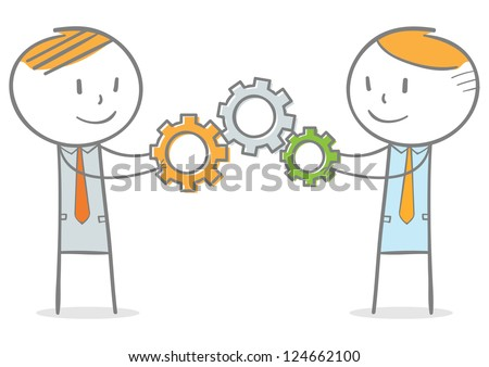 Doodle stick figure: Businessmen assembling a series of cogs. - stock vector
