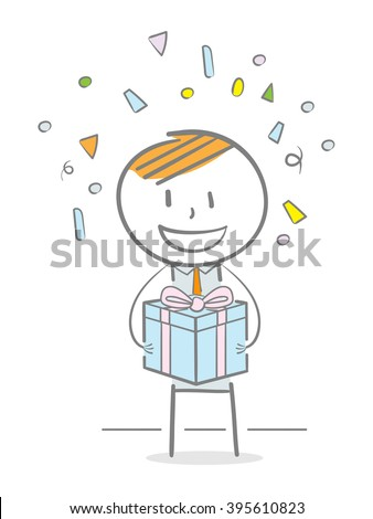 Doodle stick figure holding a gift box