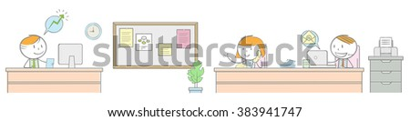 Doodle stick figure: Horizontal office room for website header