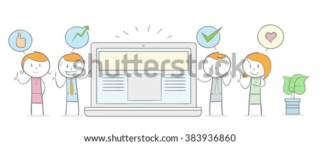 Doodle stick figure: People giving a positive testimonial to a website concept. - stock vector