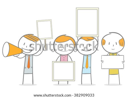 Doodle stick figure: People holding sign and banner. Demonstration.