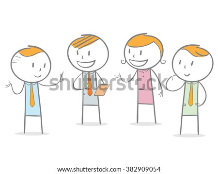Doodle stick figure: People standing in a discussion group - stock vector