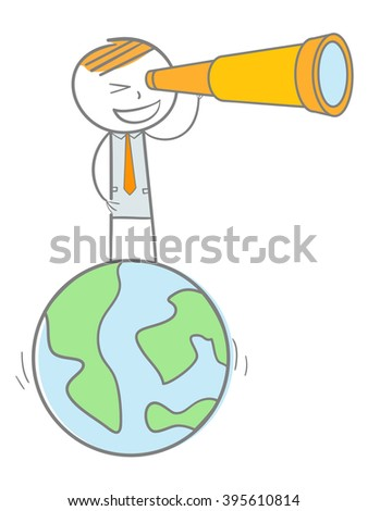 Doodle stick figure standing on a world globe looking through binocular - stock vector