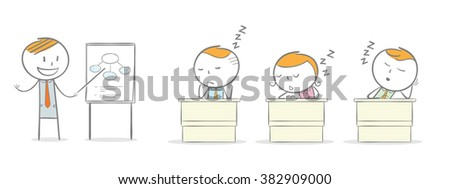 Doodle stick figure: Students asleep in class - stock vector