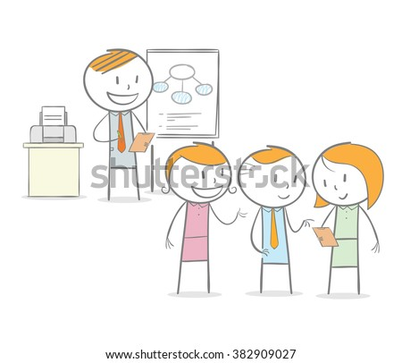 Doodle stick figure: Teacher giving a lessons to student in a discussion