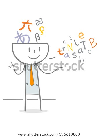 Doodle stick figure translating foreign language, translator metaphor - stock vector