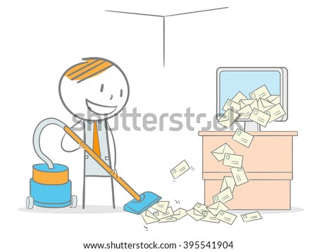 Doodle stick figure vacuum cleaning a computer overloaded by spam email - stock vector