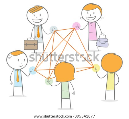 Doodle stick figures in a networking circle connected by straight thread