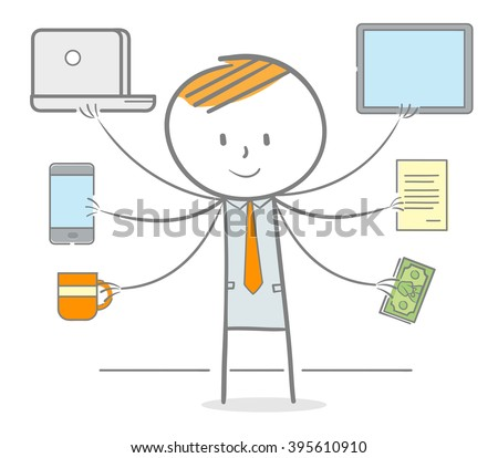 Doodle stick man with hand holding varaious object, multitasking metaphor - stock vector