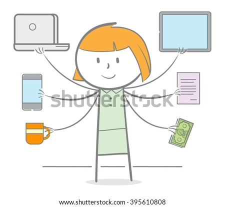 Doodle stick woman with hand holding varaious object, multitasking metaphor - stock vector