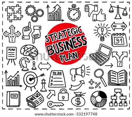 Doodle Strategic Business Plan set. Freehand doodle icons set. Handdrawn icons: arrows, diagrams, puzzle pieces, thumb up, key to success concept, doodle light bulb idea and more. Vector illustration - stock vector