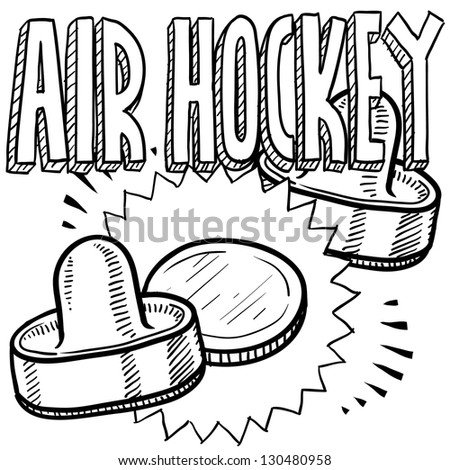 Doodle style air hockey sports illustration.  Includes text, pucks, and paddles.